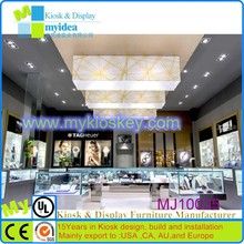 China good factory cutomize shopping mall glass acrylic mall kiosk jewelry display case