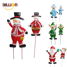 Christmas Cheerful Character Snowman Garden Decor Yard Stake, Metal Christmas Snowman Outdoor Decorations