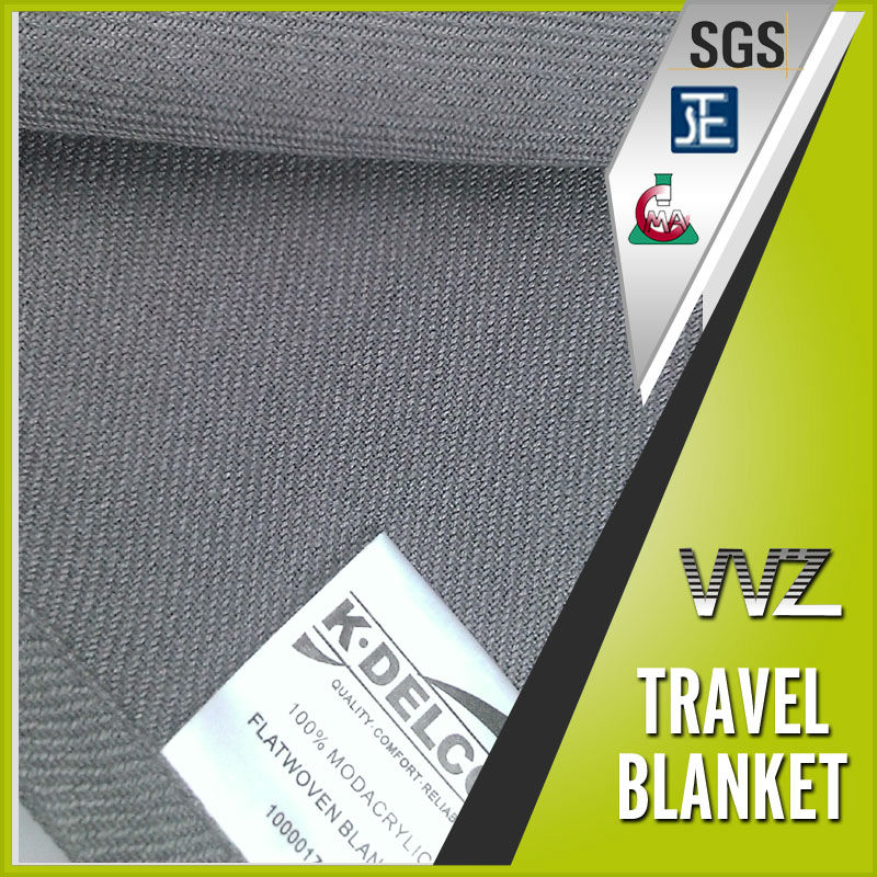 Woven modacrylic fire retardant travel blanket grey color moving blanket bus blanket cheap price