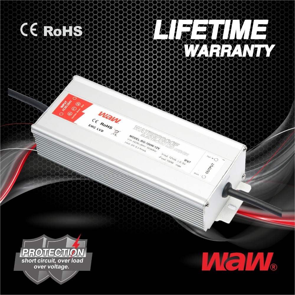 12v 8.3a 100w constant voltage waterproof IP67 LED driver LED power supply for LED strips,display with CE,ROHS approved