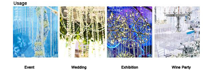 China wholesale colorful transparent beaded curtain plastic trim wedding garlands