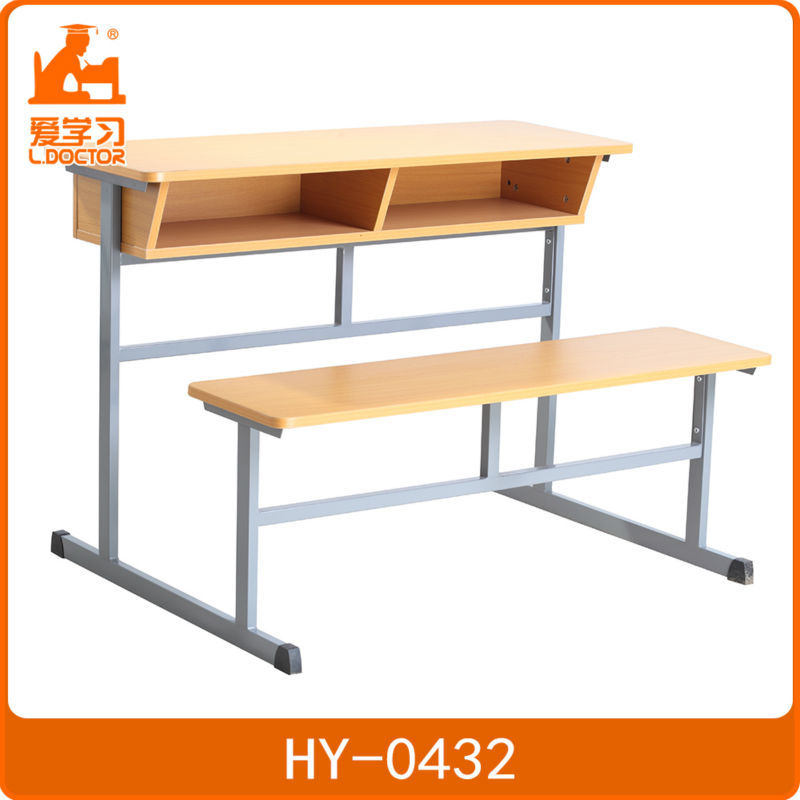 Single student wood attached school desk and chair connected
