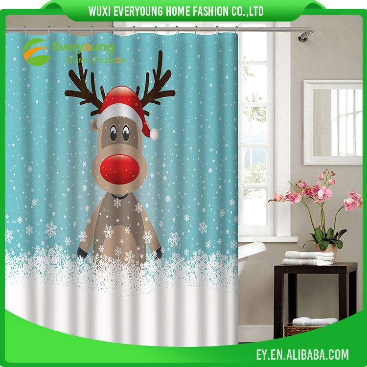 Christmas Bath Shower Windows Curtain
