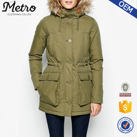 2016 Wholesale Winter Coat Women Down Filled Quilted Parka