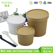 Custom printed disposable kraft paper hot soup bowls