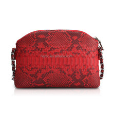 Heyco custom luxury animal skin python leather women red small shoulder bag