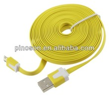 2013hotselling! flat noodle cable with ten colors for apple colorful usb cables