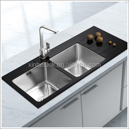 Glass Top Stainless Steel Kitchen Sink,Stainless Steel Tempered Glass ...