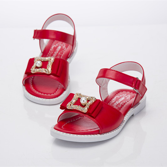 Factory sale chic stylish PU flat baby diamond girls shoes sandals summer