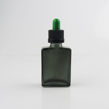 15ml 30ml 50ml dark green square rectangle glass bottle smoking oil with dropper