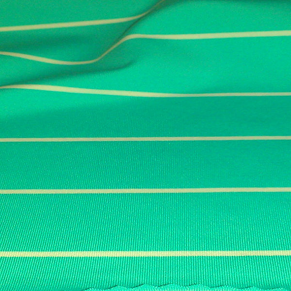 stripe fabric made of 92% poly and 8% LYCRA