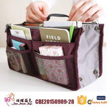 Handbag purse dual organizer insert cosmetic storage nylon bag cosmetic bag organizer