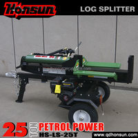 2014 Hot selling 100L three position with auto-return control valve recoil garden tool 25ton gasoline powered wood splitter