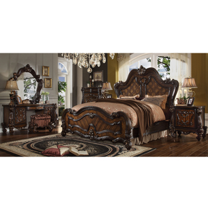 2019 LongHao Bedroom sets luxury king size European Antique Luxury Rococo Carved furniture wedding bedroom set fancy bedroom set
