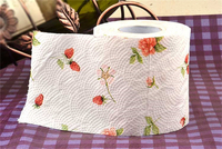 Flower printed fancy toilet tissue paper in roll