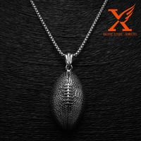 Sport Jewelry Signed LARGE 3D Dimensional Stainless Steel 316L Black Silver Rugby/ Football Sports Pendant/ Charm