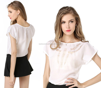 laides high low irregular hem lazer cut chiffon blouse