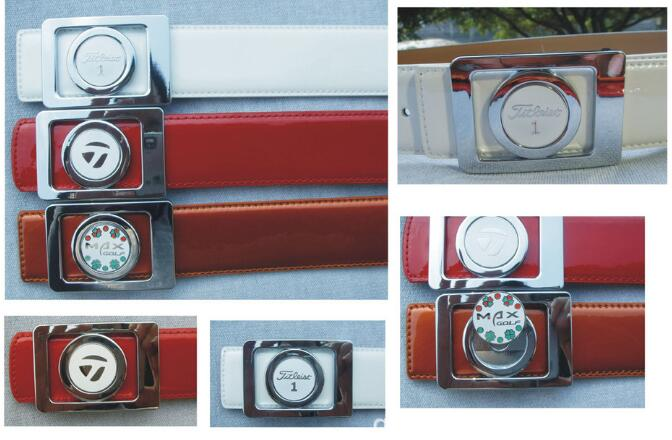 Man Golf Leather Belt With Ball Marker