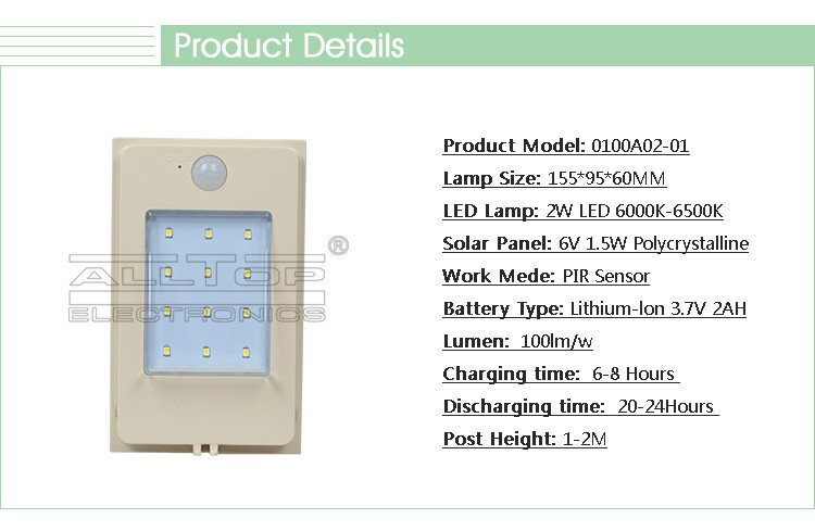 Hot sale 2W motion sensor photocell garden led lamp outdoor wireless solar wall pack light