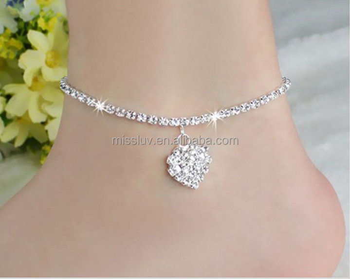 Elegant crystal silver anklets with heart charm simple girls fashion anklets