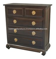 5 Drawer Opium Leg Tallboy Ring Handle Drawing Room Cabinets