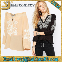Embroidered long sleeve cotton V-neck design fashion cutting woman blouse