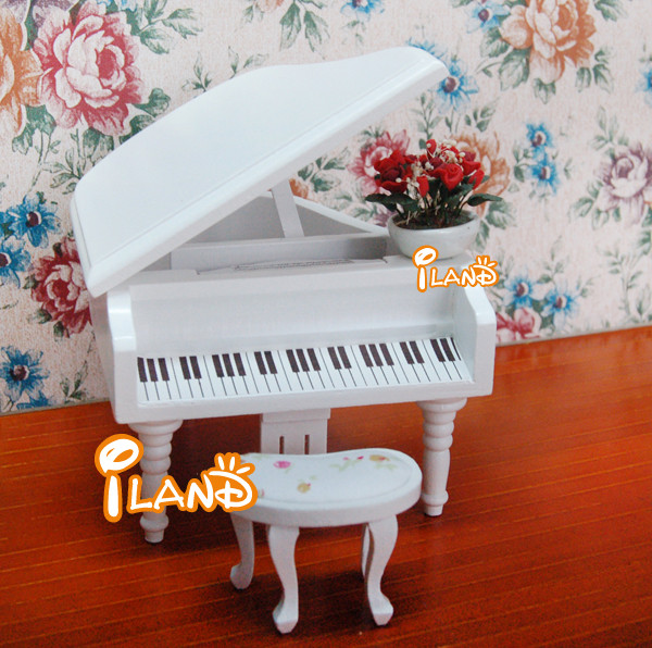 Dolls house music instrument mini piano with bench for dollhouse music room HE005D