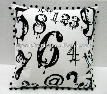 Number Art Printed Cotton Cushion Cover with Zig Zag Printed Cotton Canvas Back ( both side Usable )