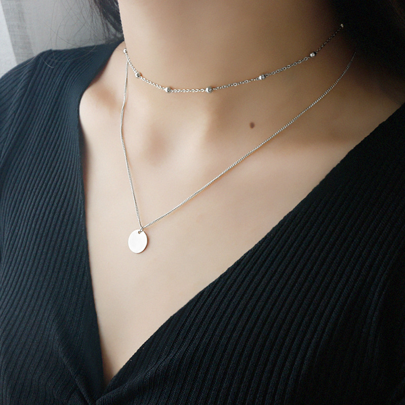 Fashion women 925 sterling silver double layer choker necklace