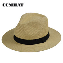 Summer Man Paper Straw Fedora Hat With Black Ribbon Band