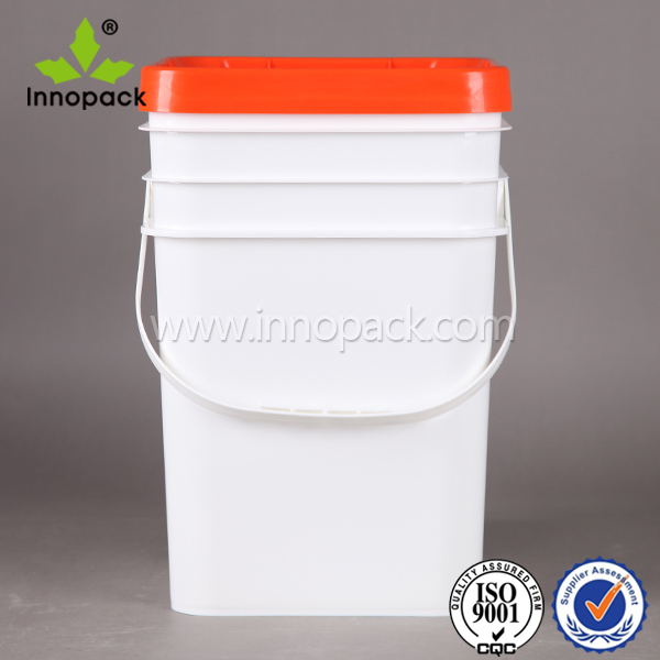 20 L square plastic pail 5 gal bucket with lid