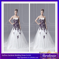 High Quality Brand Name Beautiful A Line Strapless Low Back Appliqued Tulle Train Purple And Ivory Wedding Dresses (AB0516)