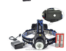 XM-L T6 4000LM LED Headlamp Headlight 18650 flashlight head light lamp +2x 6800mAh 18650 Battery+car charger+ EU/US charger