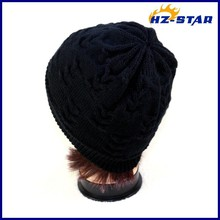 HZM-110040003 high quality Knitted Pattern womens patterns knitted hunter winter long beanie handmade best hats for women