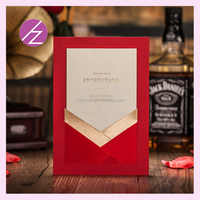 Very unique and colourful halloween gifts invitation card royal wedding invitation card with festival red color cw5106