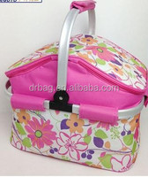 New design folding picnic basket,wholesale promotion picnic cooler bag