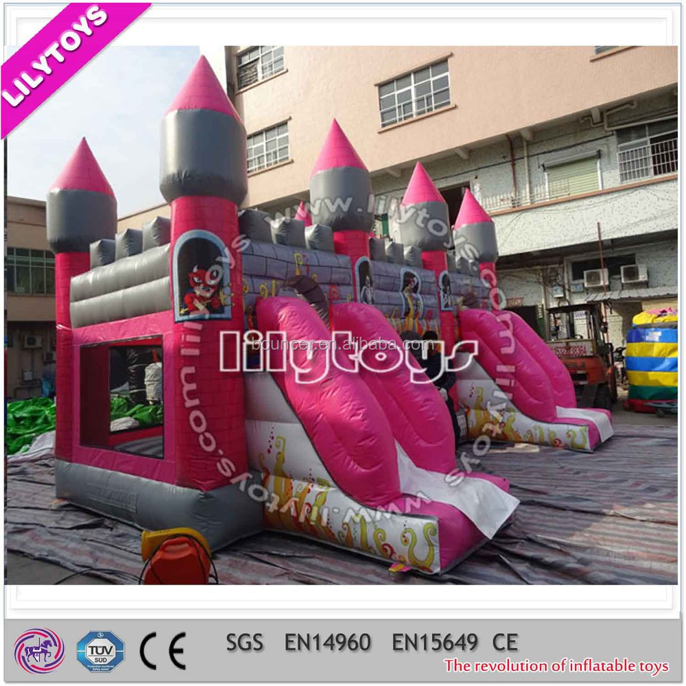 20ft used commercial inflatable combo, inflatable bouncy castle with slide for sale
