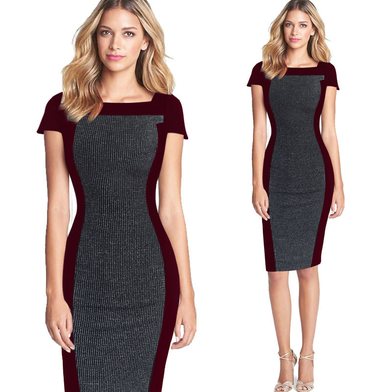 DD172 Womens Elegant Colorblock Patchwork Square Neck Long Sleeve Wear to Work Business Office Sheath Pencil Dress