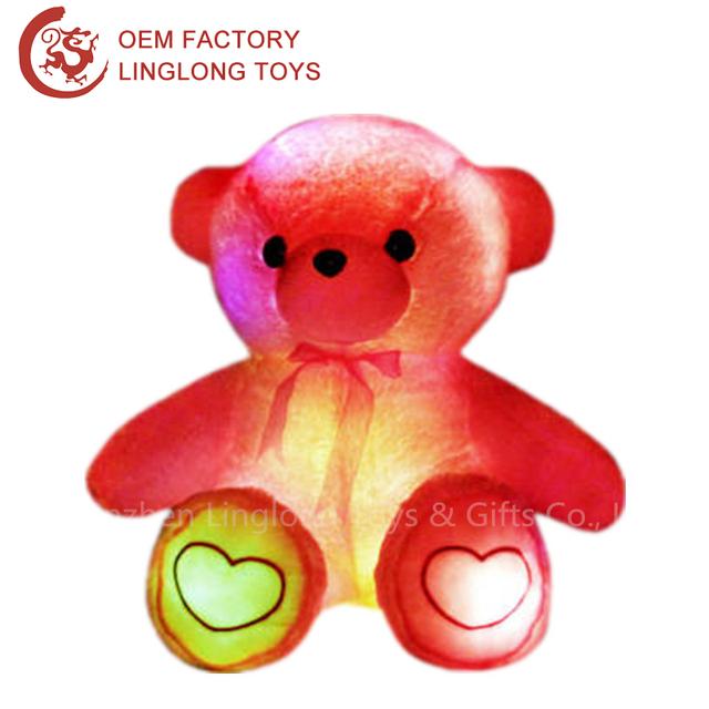 Led Luminous Teddy Bear Plush Toys Colorful Glow Bear Stuffed Toy Embroidery Pattern Giant Plush Teddy Bear For Kids