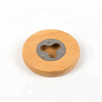 eco friendly magnetic round wood coaster bottle opener