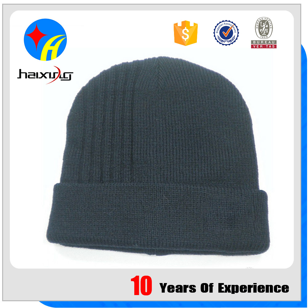 Popular Fashion Plain Dyed Knitted Hat Caps