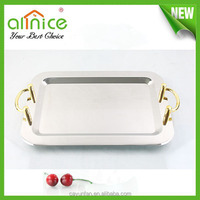 Good mirror polishing decorative rectangular stainless steel tray with handle