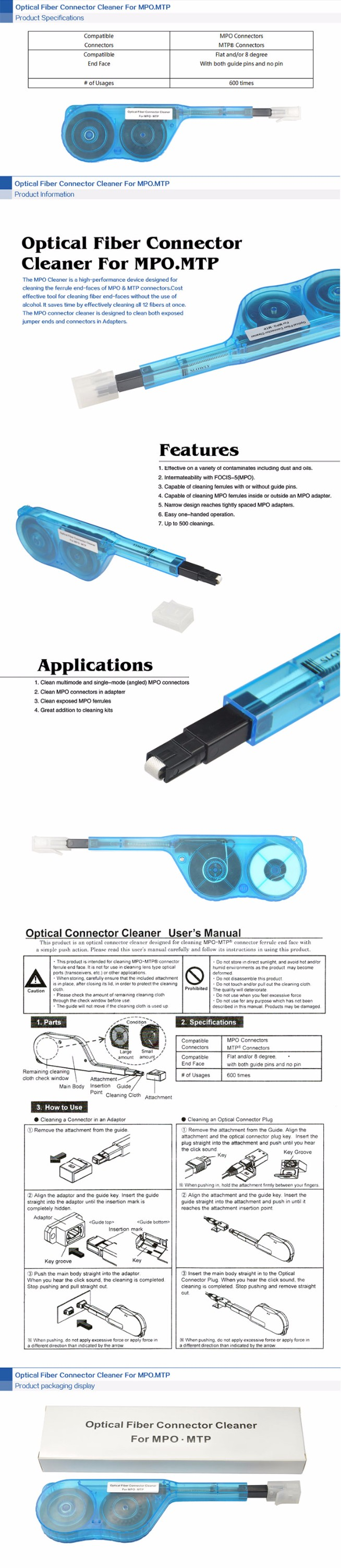 Factory Price One click Fiber Optic connector Cleaner Tool