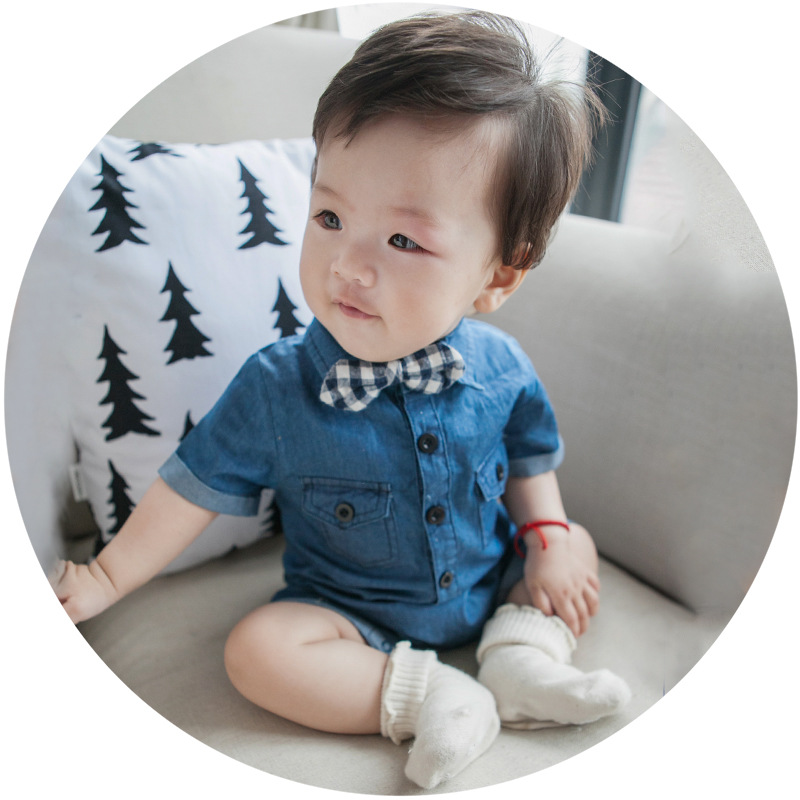 S13884A Hot Sale Baby Boys And Girls Denim Jumpsuit