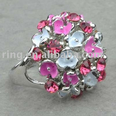 18K GP Floral Cute Big Enamel Flower #9 Metal Ring