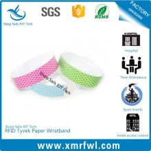 Disposable HF13.56MHZ rfid paper wristband for event