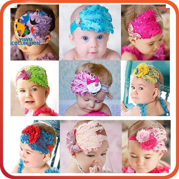 wholesale fancy flower baby feather headband feather baby headband