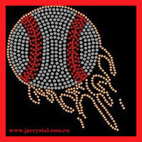 fashion baseball iron on rhinestone motif design for sports t shirt