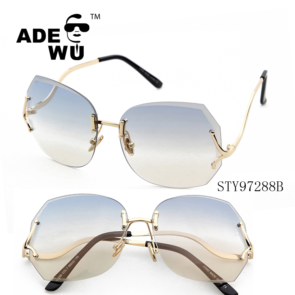 ADE WU rimless frame flat lenses oversized street fashion sunglasses 2017