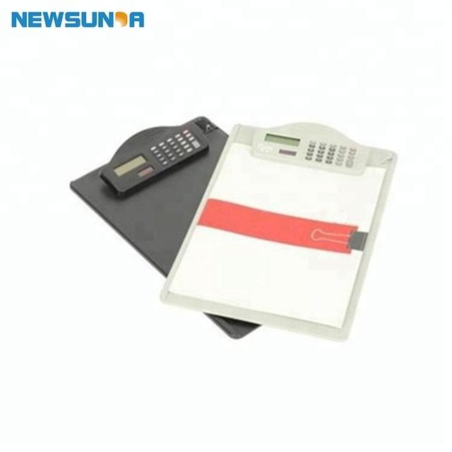 Fancy white and black mini clip clipboard with calculator